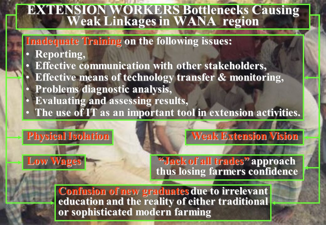 EXTENSION WORKERS Bottlenecks Causing Weak Linkages in WANA region Inadequate Training on the following issues: Reporting, Reporting, Effective communication with other stakeholders, Effective communication with other stakeholders, Effective means of technology transfer & monitoring, Effective means of technology transfer & monitoring, Problems diagnostic analysis, Problems diagnostic analysis, Evaluating and assessing results, Evaluating and assessing results, The use of IT as an important tool in extension activities.