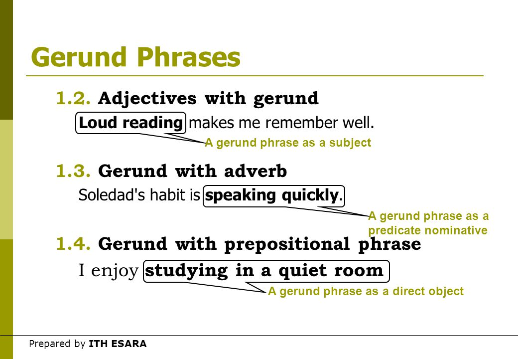 Prepared by ITH ESARA Gerund Phrases  A gerund phrase is a gerund with modifiers or complements, all acting together as a noun. 1.Gerund + modifiers