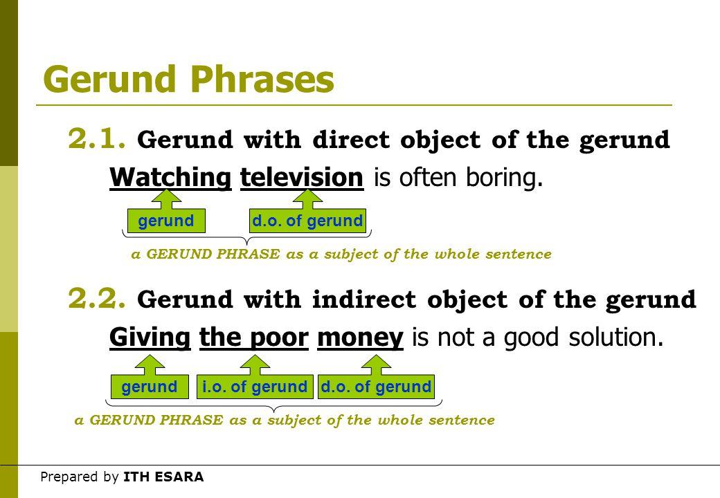 Prepared by ITH ESARA Gerund Phrases 2.