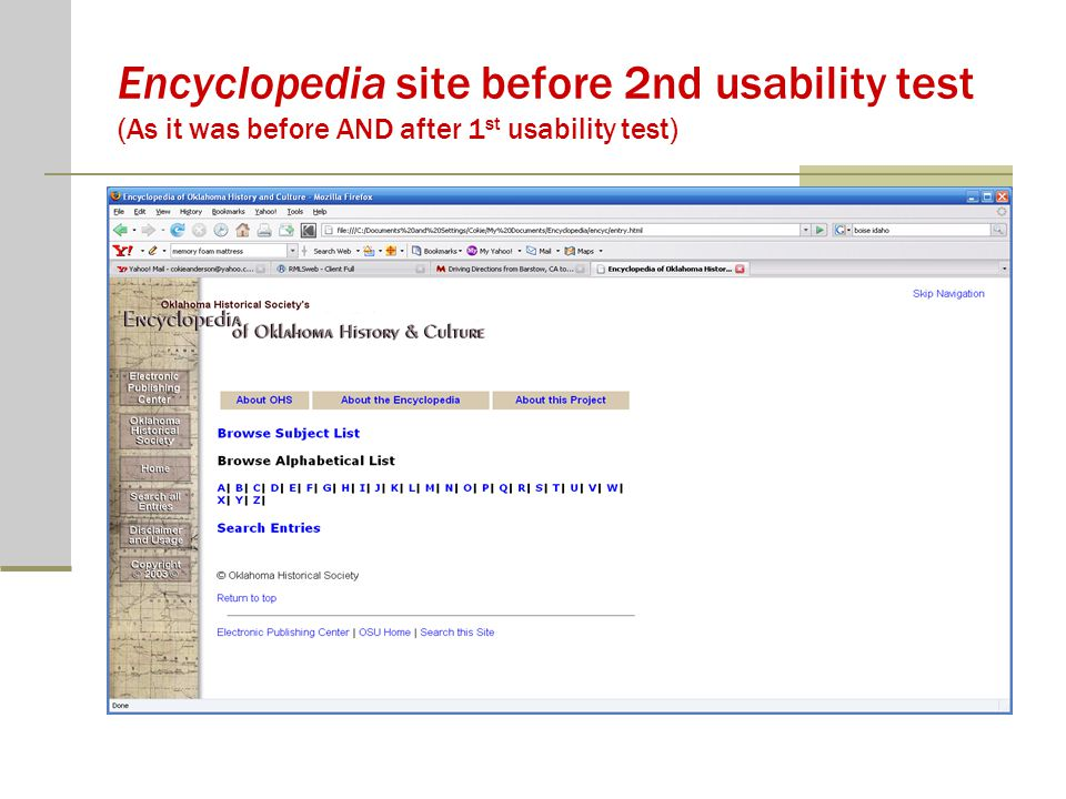 Encyclopedia site before 2nd usability test (As it was before AND after 1 st usability test)