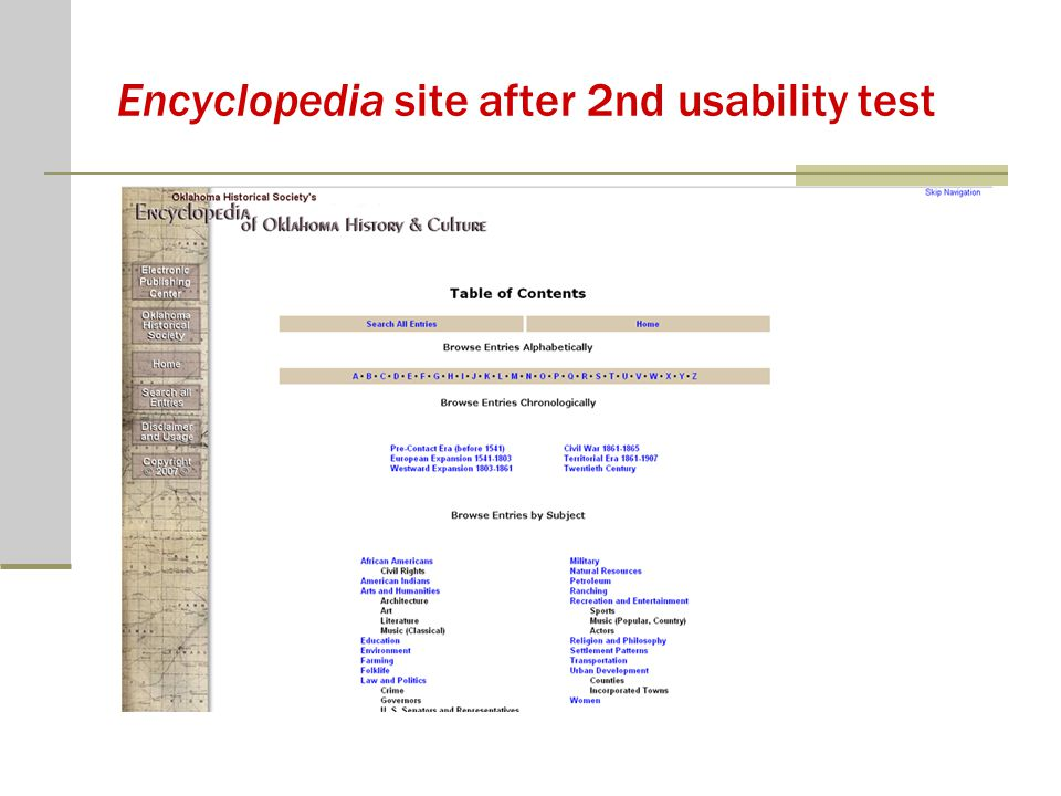 Encyclopedia site after 2nd usability test