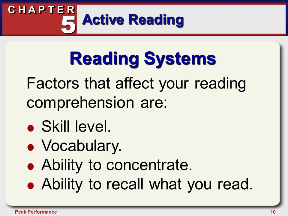 10Peak Performance C H A P T E R Active Reading 5 Reading Systems Factors that affect your reading comprehension are: Skill level.