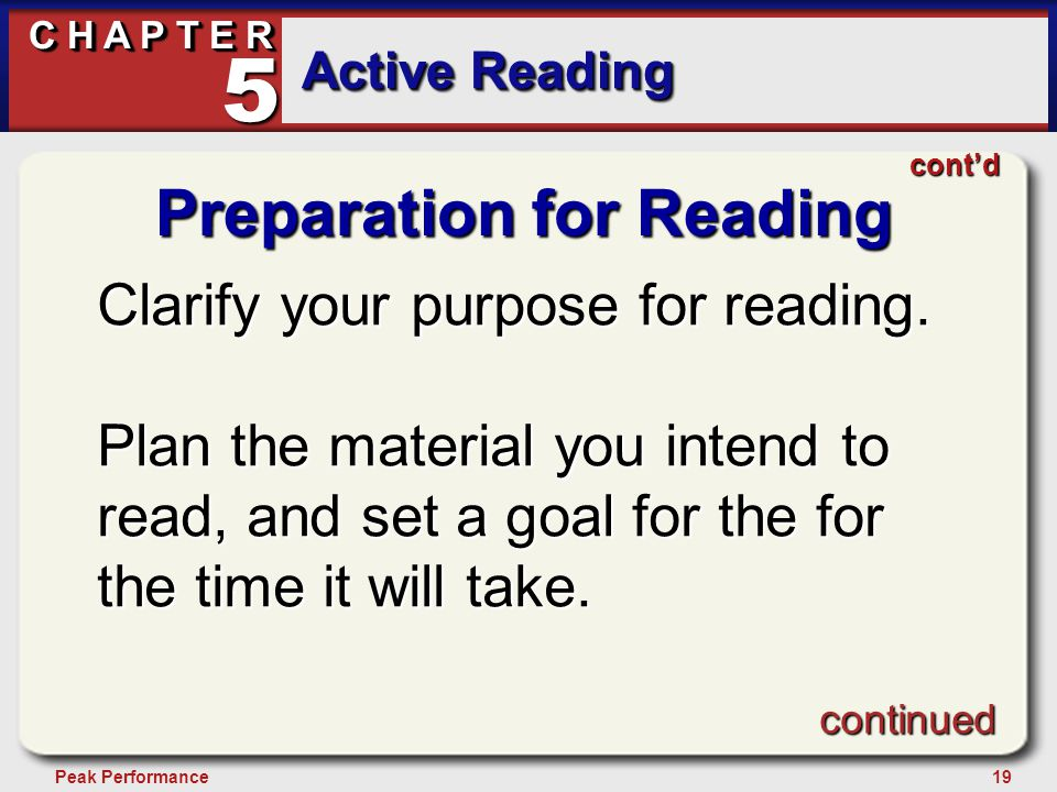 19Peak Performance C H A P T E R Active Reading 5 Preparation for Reading Clarify your purpose for reading.