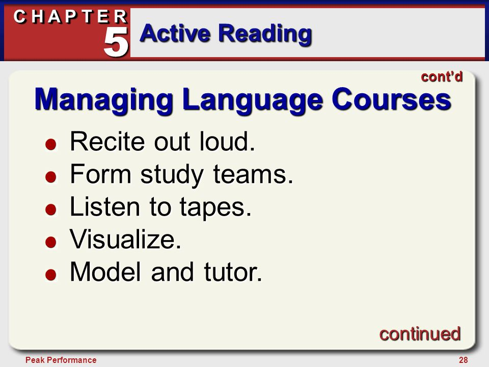 28Peak Performance C H A P T E R Active Reading 5 Managing Language Courses Recite out loud. Form study teams. Listen to tapes. Visualize. Model and t