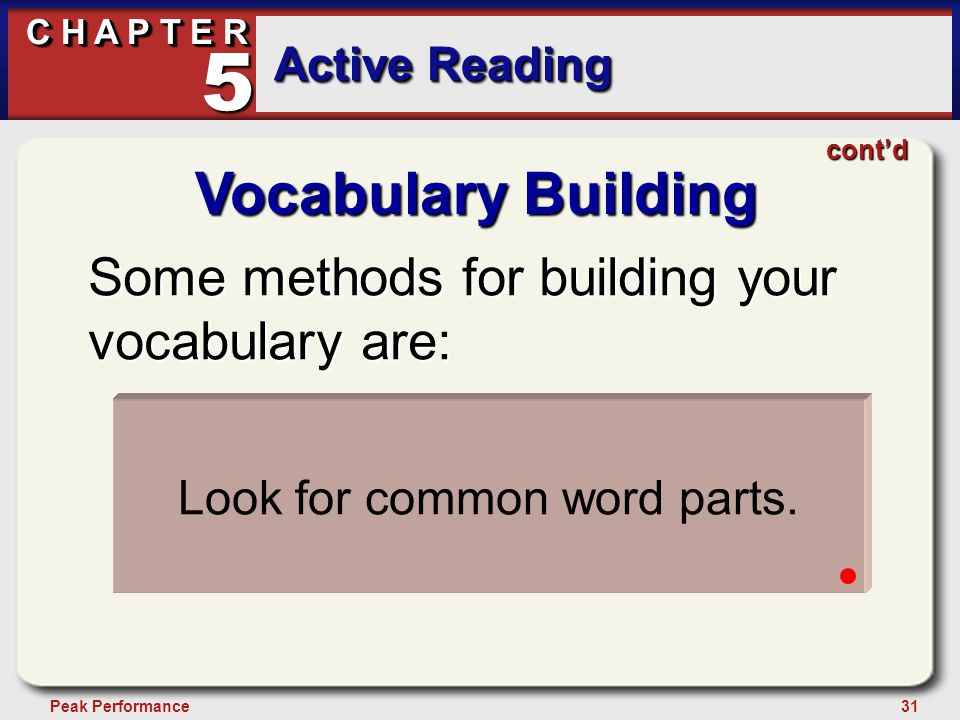 31Peak Performance C H A P T E R Active Reading 5 Vocabulary Building Some methods for building your vocabulary are: Realize the power and value of wo