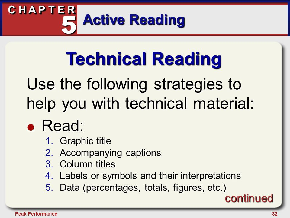 32Peak Performance C H A P T E R Active Reading 5 Technical Reading Use the following strategies to help you with technical material: Read: 1.Graphic title 2.Accompanying captions 3.Column titles 4.Labels or symbols and their interpretations 5.Data (percentages, totals, figures, etc.) continued