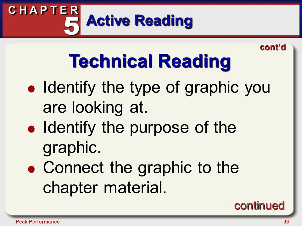 33Peak Performance C H A P T E R Active Reading 5 Technical Reading Identify the type of graphic you are looking at. Identify the purpose of the graph