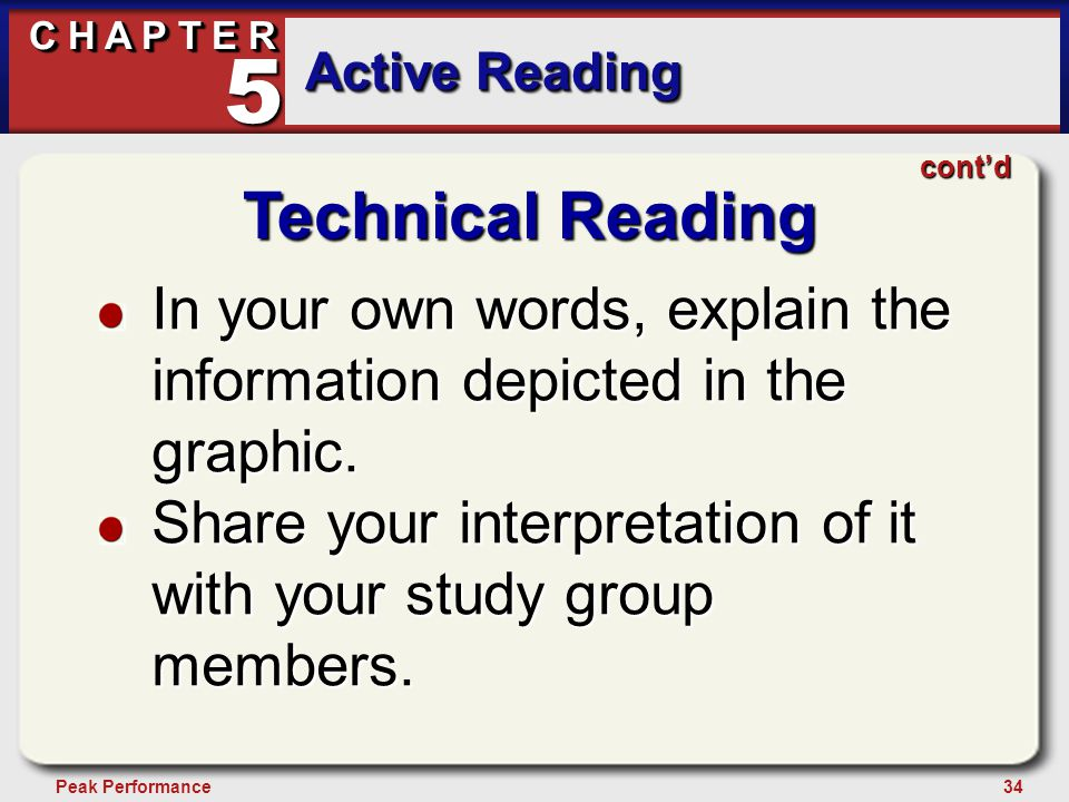 34Peak Performance C H A P T E R Active Reading 5 Technical Reading In your own words, explain the information depicted in the graphic. Share your int
