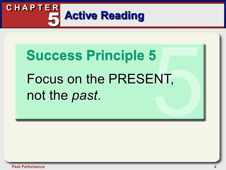 15Peak Performance C H A P T E R Active Reading 5 Preparation for Reading Prepare yourself mentally through affirmations.