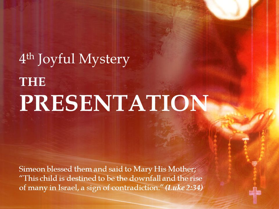 4 th Joyful Mystery THE PRESENTATION Simeon blessed them and said to Mary His Mother; This child is destined to be the downfall and the rise of many in Israel, a sign of contradiction. (Luke 2:34)