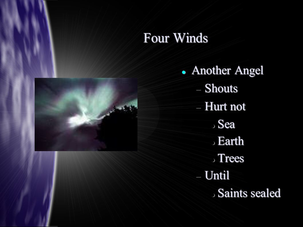 Four Winds Another Angel Another Angel  Shouts  Hurt not Sea Sea Earth Earth Trees Trees  Until Saints sealed Saints sealed
