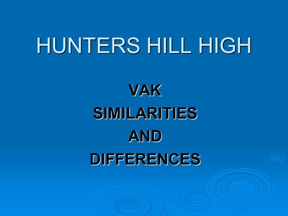 HUNTERS HILL HIGH VAKSIMILARITIESANDDIFFERENCES
