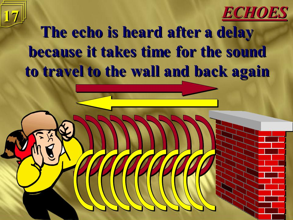 ECHOES 16 Sound waves will bounce off walls to give an echo Sound waves will bounce off walls to give an echo