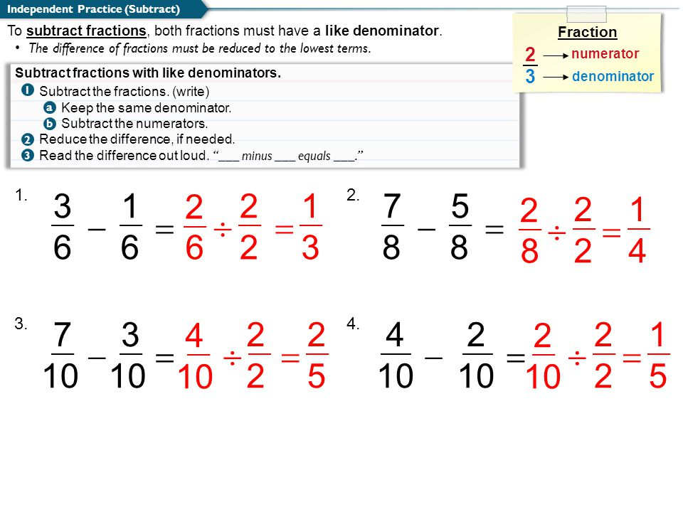 CLASSWORK Access Common Core Which of the following fractions are correctly added and reduced.
