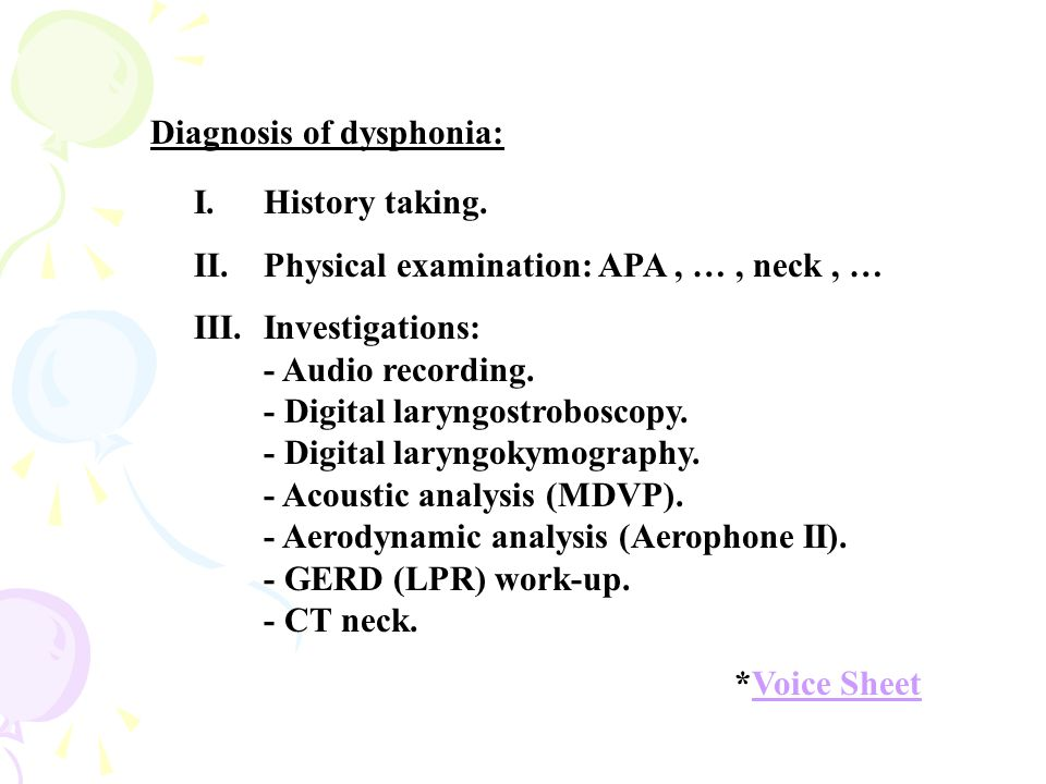 Diagnosis of dysphonia: I.History taking.