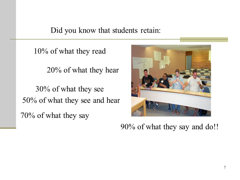 7 Did you know that students retain: 10% of what they read 20% of what they hear 30% of what they see 50% of what they see and hear 70% of what they s