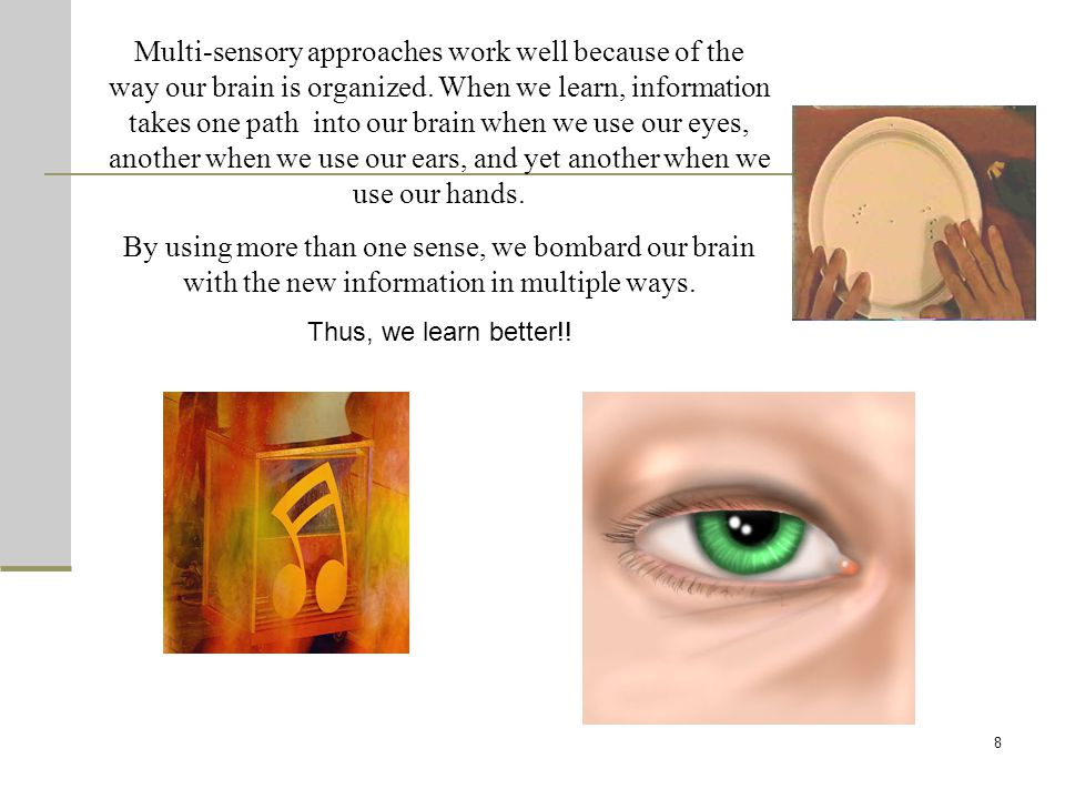 8 Multi-sensory approaches work well because of the way our brain is organized.