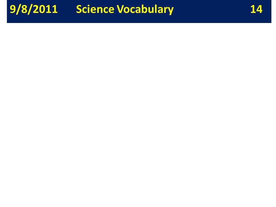 9/8/2011 Science Vocabulary 14