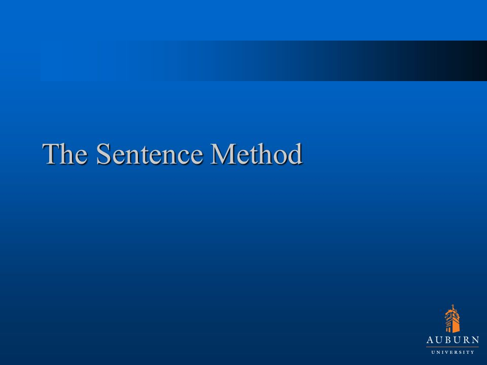 The Sentence Method