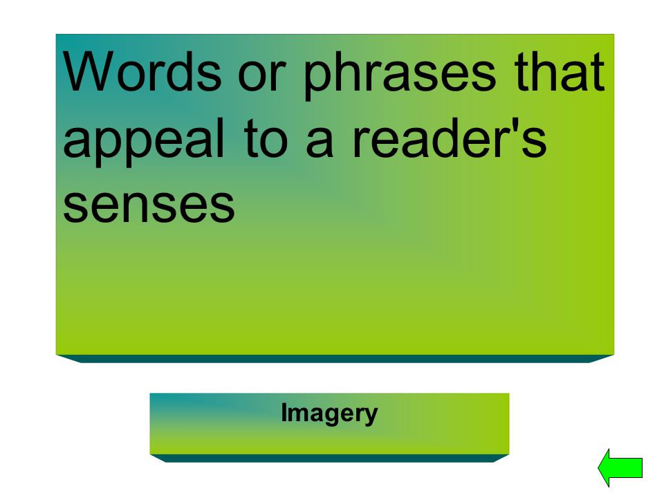 Words or phrases that appeal to a reader's senses Imagery