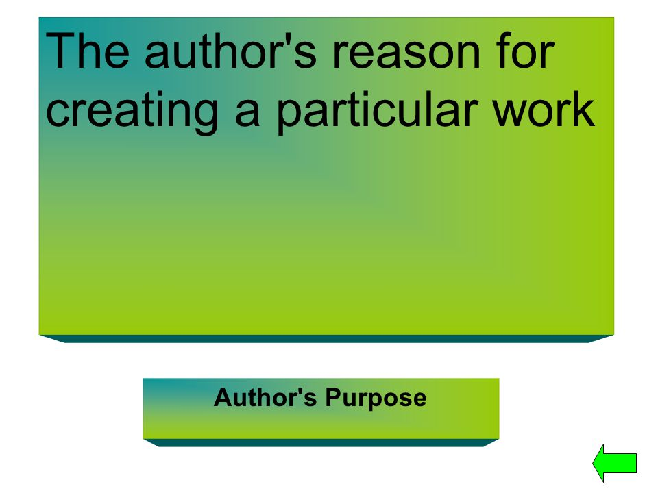 The author's reason for creating a particular work Author's Purpose