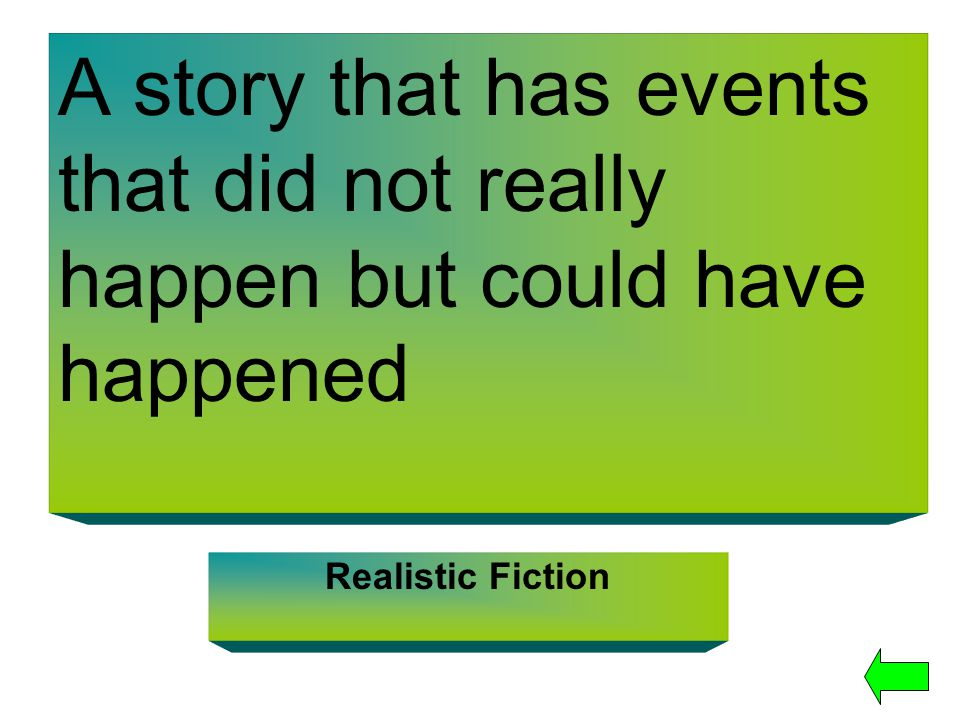 A story that has events that did not really happen but could have happened Realistic Fiction