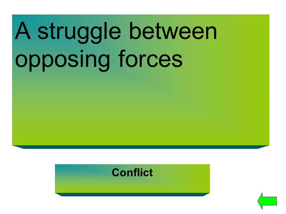 A struggle between opposing forces Conflict