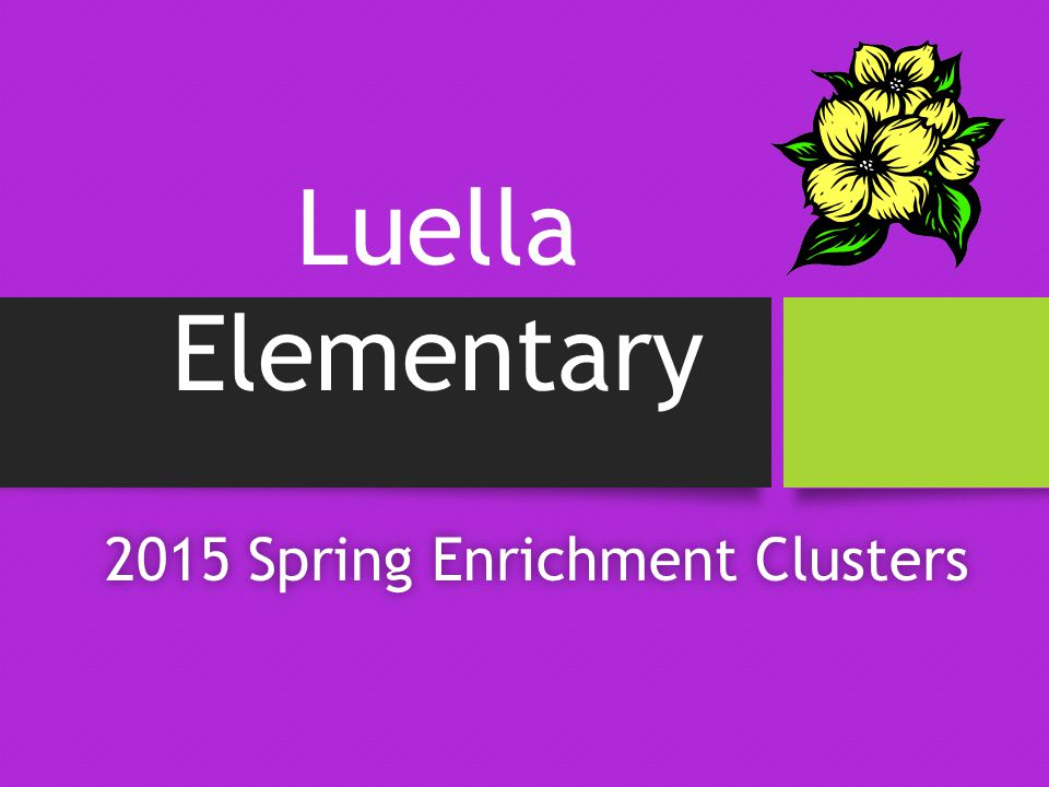 2015 Spring Enrichment Clusters2015 Spring Enrichment Clusters Luella Elementary