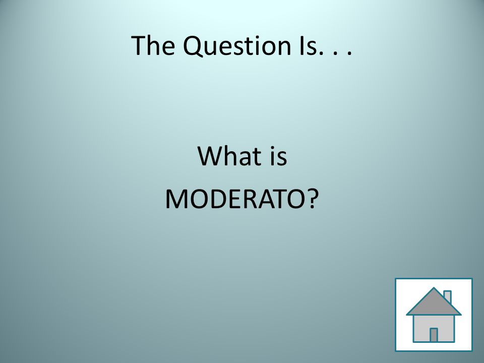 The Question Is... What is MODERATO?