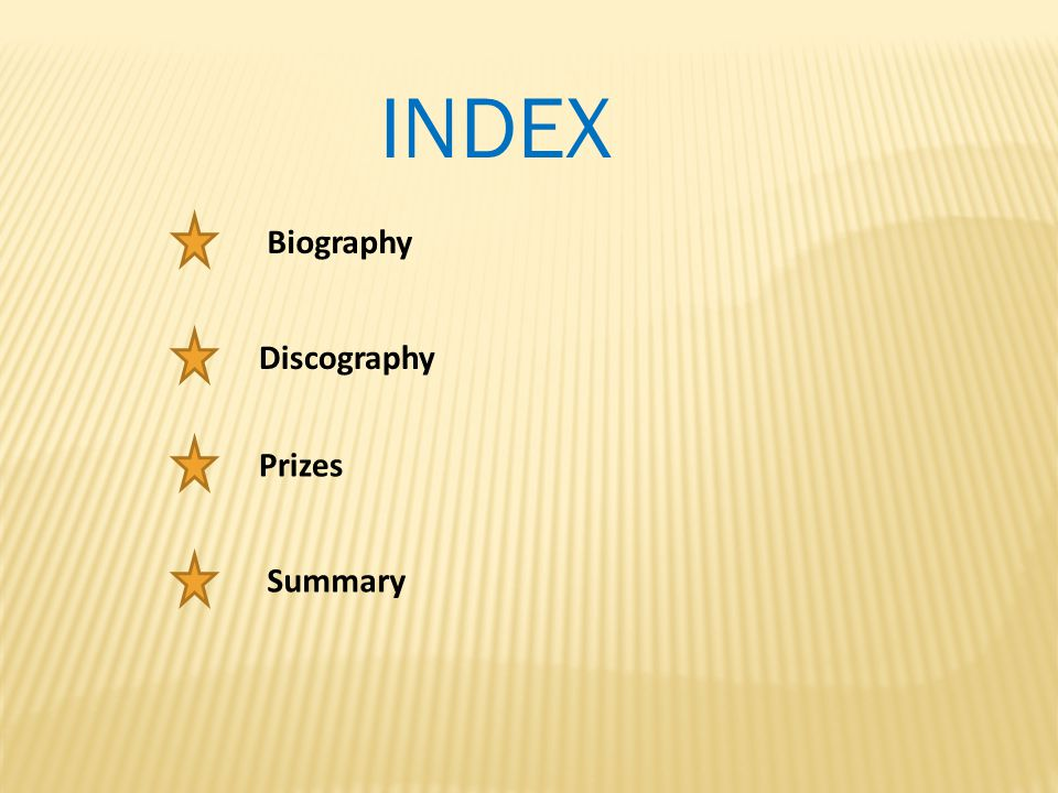 INDEX Biography Discography Prizes Summary