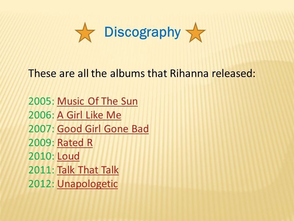 Discography These are all the albums that Rihanna released: 2005: Music Of The SunMusic Of The Sun 2006: A Girl Like MeA Girl Like Me 2007: Good Girl Gone BadGood Girl Gone Bad 2009: Rated RRated R 2010: LoudLoud 2011: Talk That TalkTalk That Talk 2012: UnapologeticUnapologetic