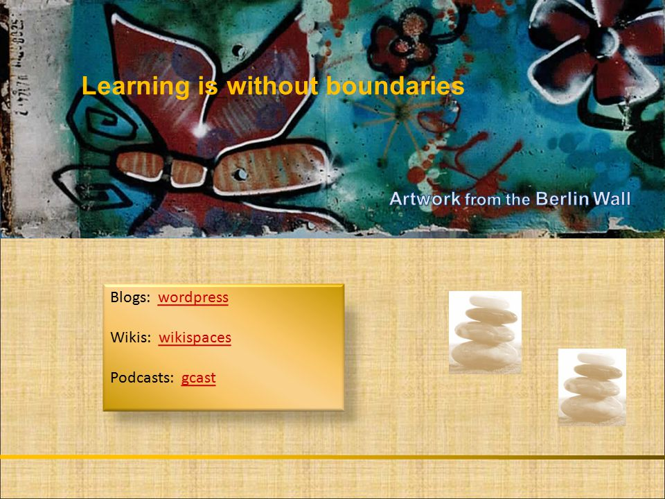 Learning is without borders Blogs: wordpresswordpress Wikis: wikispaceswikispaces Podcasts: gcastgcast Learning is without boundaries