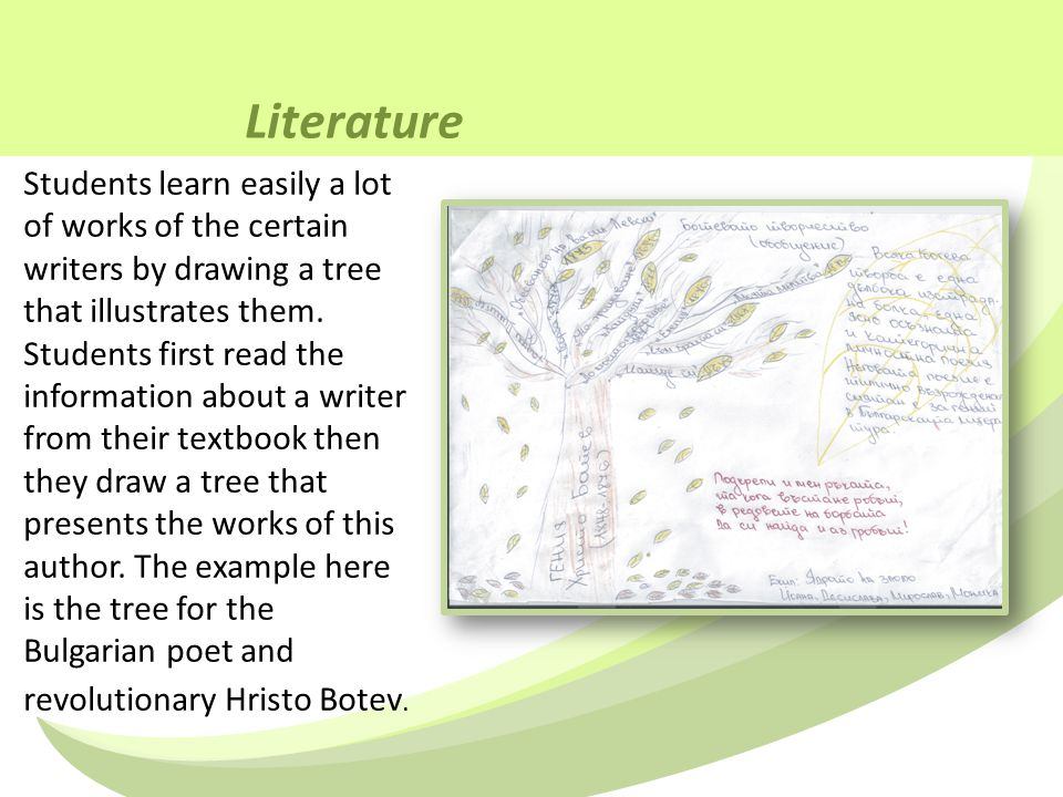 Literature Students learn easily a lot of works of the certain writers by drawing a tree that illustrates them.
