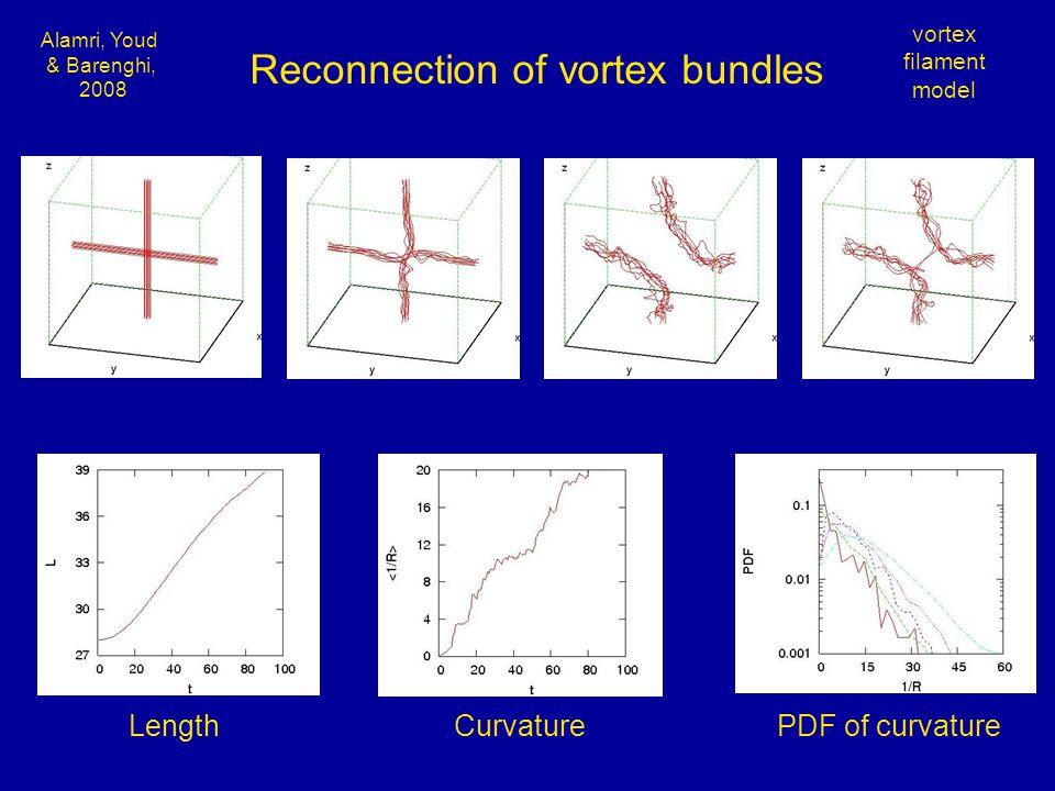 Alamri, Youd & Barenghi, 2008 vortex filament model Reconnection of vortex bundles Length CurvaturePDF of curvature