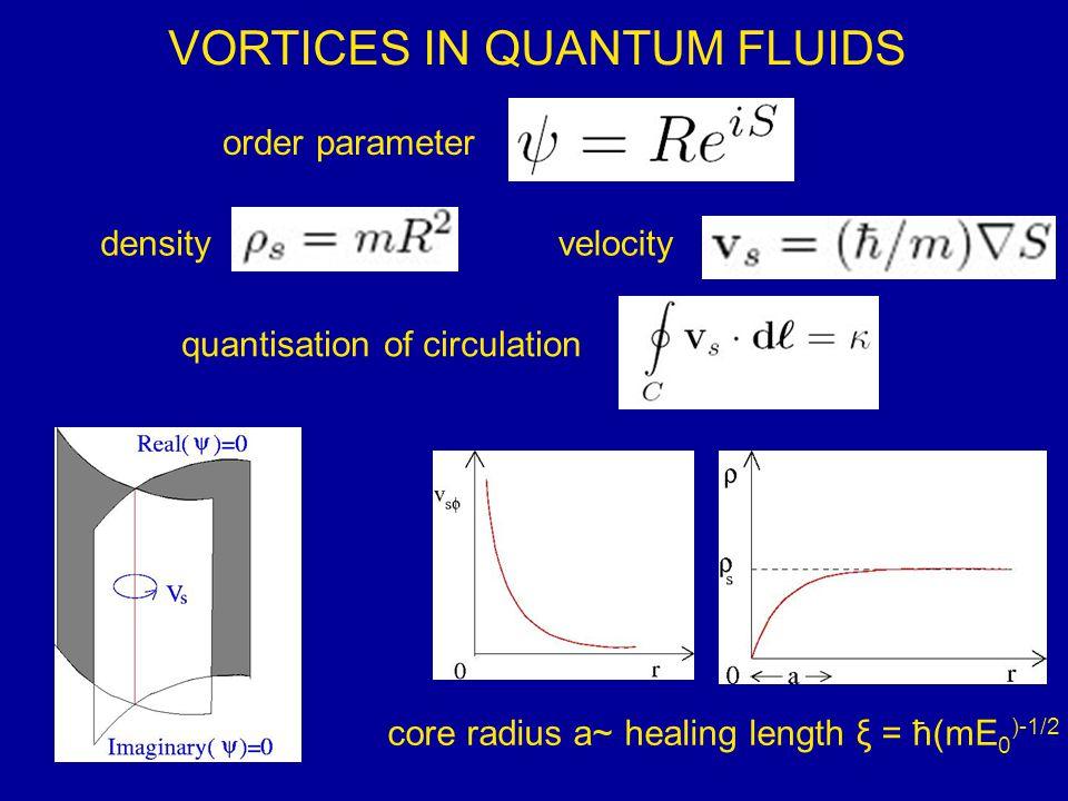 VORTICES IN QUANTUM FLUIDS densityvelocity order parameter quantisation of circulation core radius a~ healing length ξ = ħ(mE 0 )-1/2
