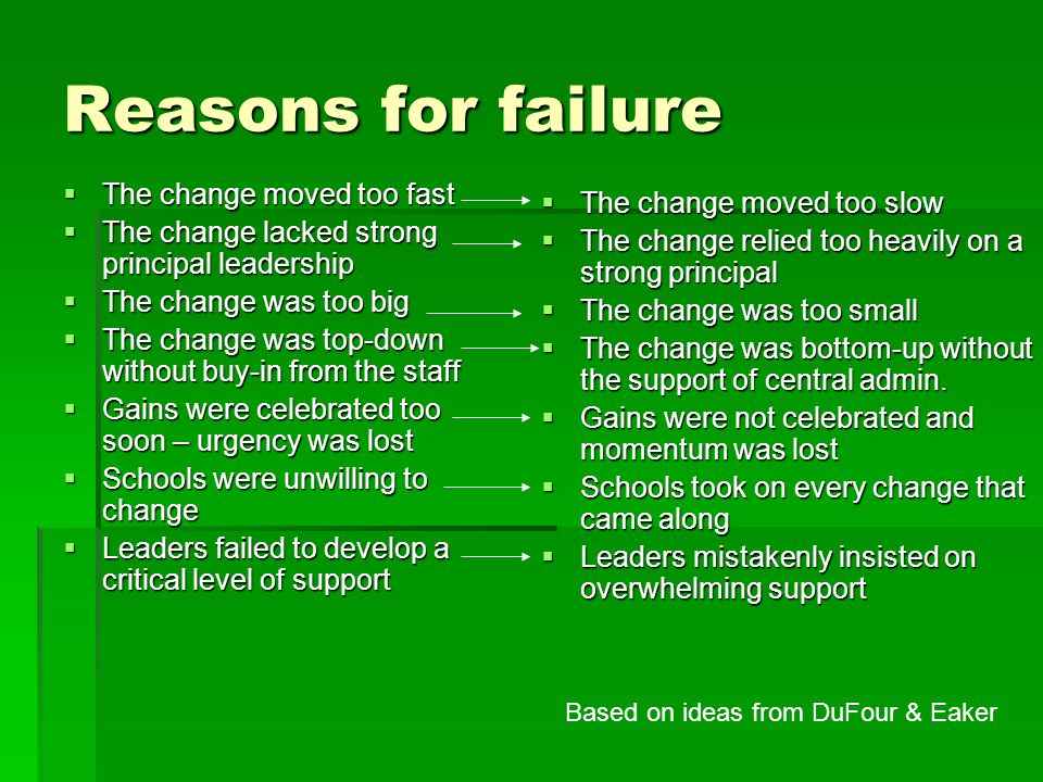 Reasons for failure  The change moved too fast  The change lacked strong principal leadership  The change was too big  The change was top-down without buy-in from the staff  Gains were celebrated too soon – urgency was lost  Schools were unwilling to change  Leaders failed to develop a critical level of support  The change moved too slow  The change relied too heavily on a strong principal  The change was too small  The change was bottom-up without the support of central admin.