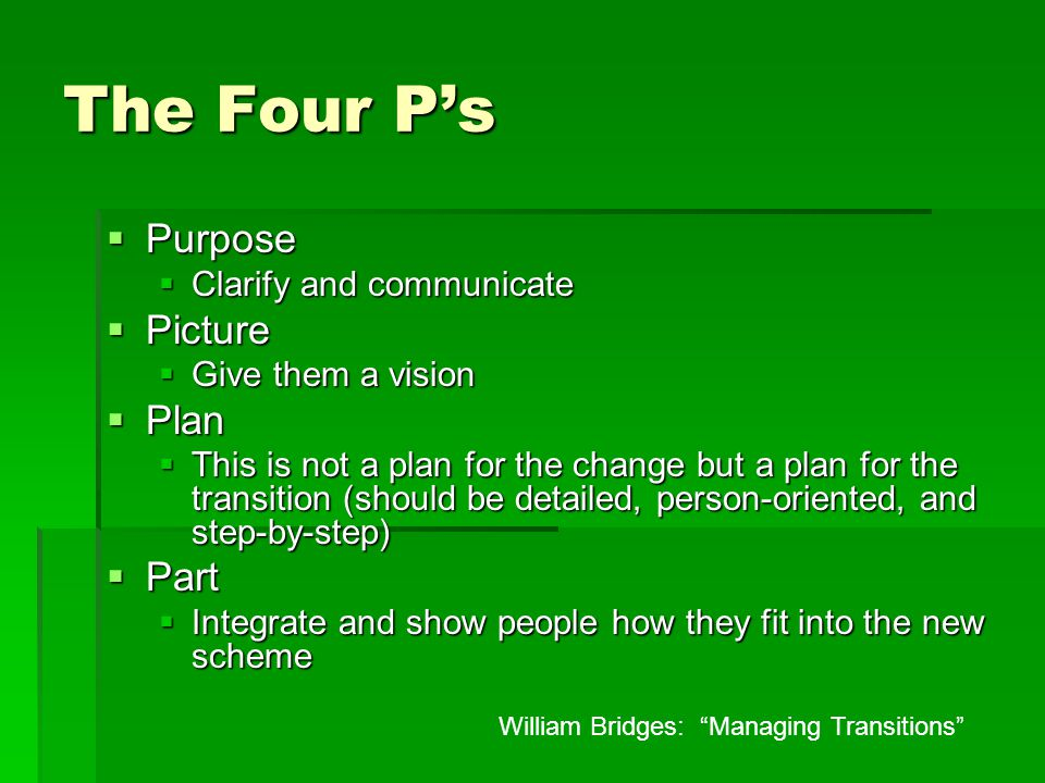 The Four P's  Purpose  Clarify and communicate  Picture  Give them a vision  Plan  This is not a plan for the change but a plan for the transition (should be detailed, person-oriented, and step-by-step)  Part  Integrate and show people how they fit into the new scheme William Bridges: Managing Transitions