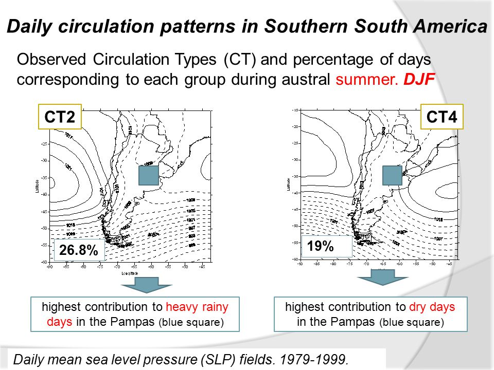 Daily circulation patterns in Southern South America Daily mean sea level pressure (SLP) fields.