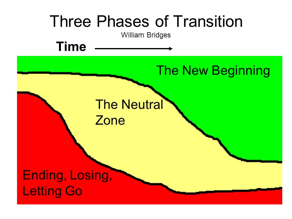 Three Phases of Transition William Bridges The New Beginning The Neutral Zone Ending, Losing, Letting Go Time