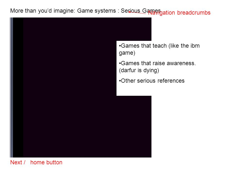 More than you'd imagine: Game systems : Serious Games Next / home button Navigation breadcrumbs Games that teach (like the ibm game) Games that raise
