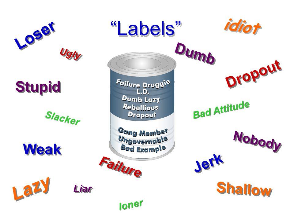 Loser Jerk Stupid idiot Liar Slacker loner Lazy Dropout Nobody Ugly Weak Shallow Dumb Failure Bad Attitude