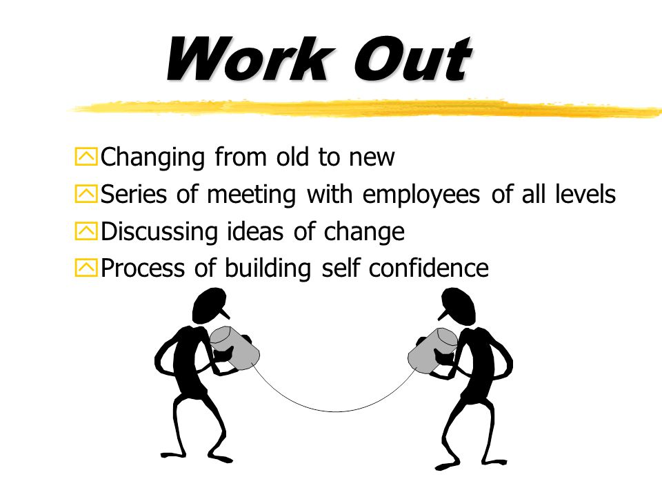Work Out yChanging from old to new ySeries of meeting with employees of all levels yDiscussing ideas of change yProcess of building self confidence