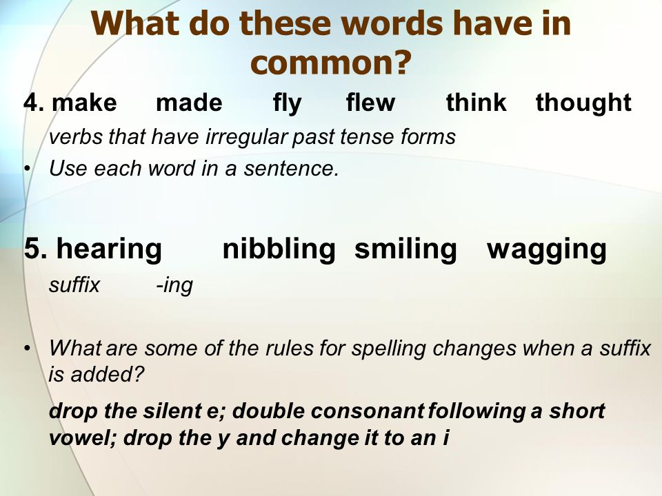 4. makemade fly flew think thought verbs that have irregular past tense forms Use each word in a sentence. 5. hearingnibblingsmilingwagging suffix -in