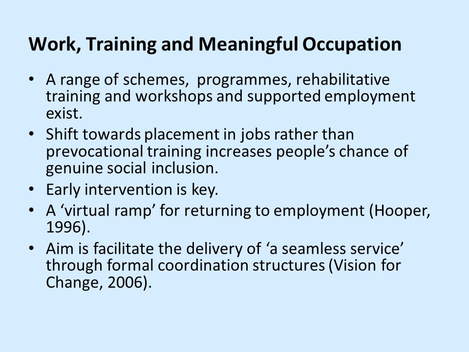 Work, Training and Meaningful Occupation A range of schemes, programmes, rehabilitative training and workshops and supported employment exist.