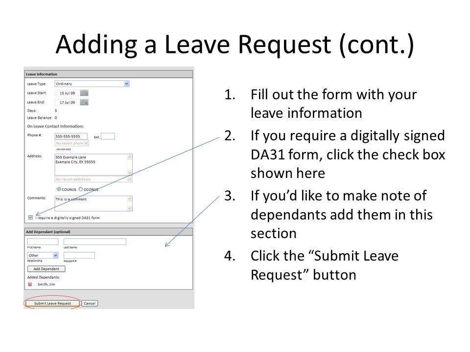 1.Fill out the form with your leave information 2.If you require a digitally signed DA31 form, click the check box shown here 3.If you'd like to make note of dependants add them in this section 4.Click the Submit Leave Request button Adding a Leave Request (cont.)