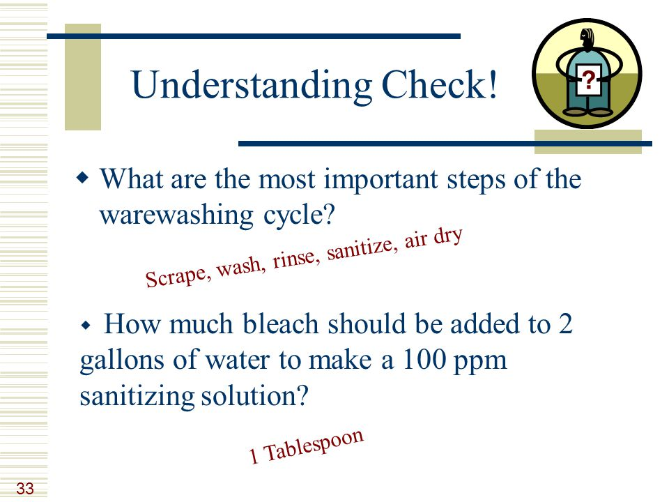33 Understanding Check. What are the most important steps of the warewashing cycle.