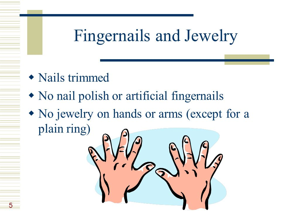 5 Fingernails and Jewelry  Nails trimmed  No nail polish or artificial fingernails  No jewelry on hands or arms (except for a plain ring)