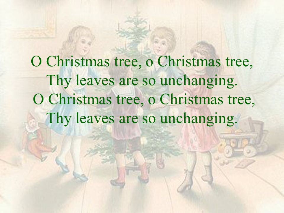 O Christmas tree, o Christmas tree, Thy leaves are so unchanging.