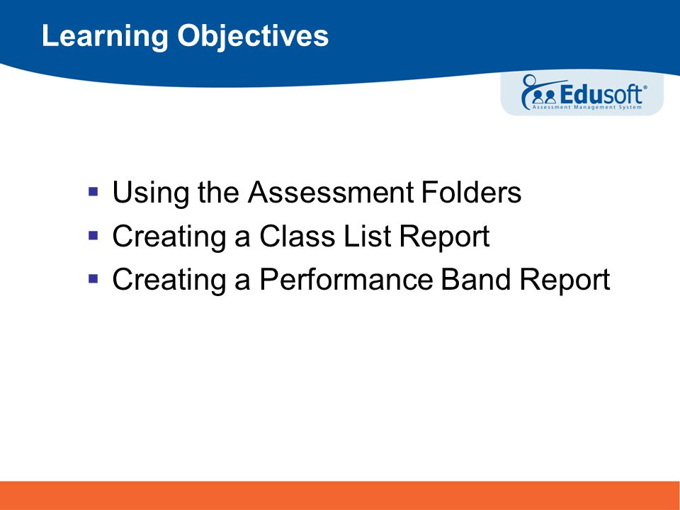 3 Turning Information Into Achievement Generating a Performance Band Report From the Benchmark Tab, click on the Report icon