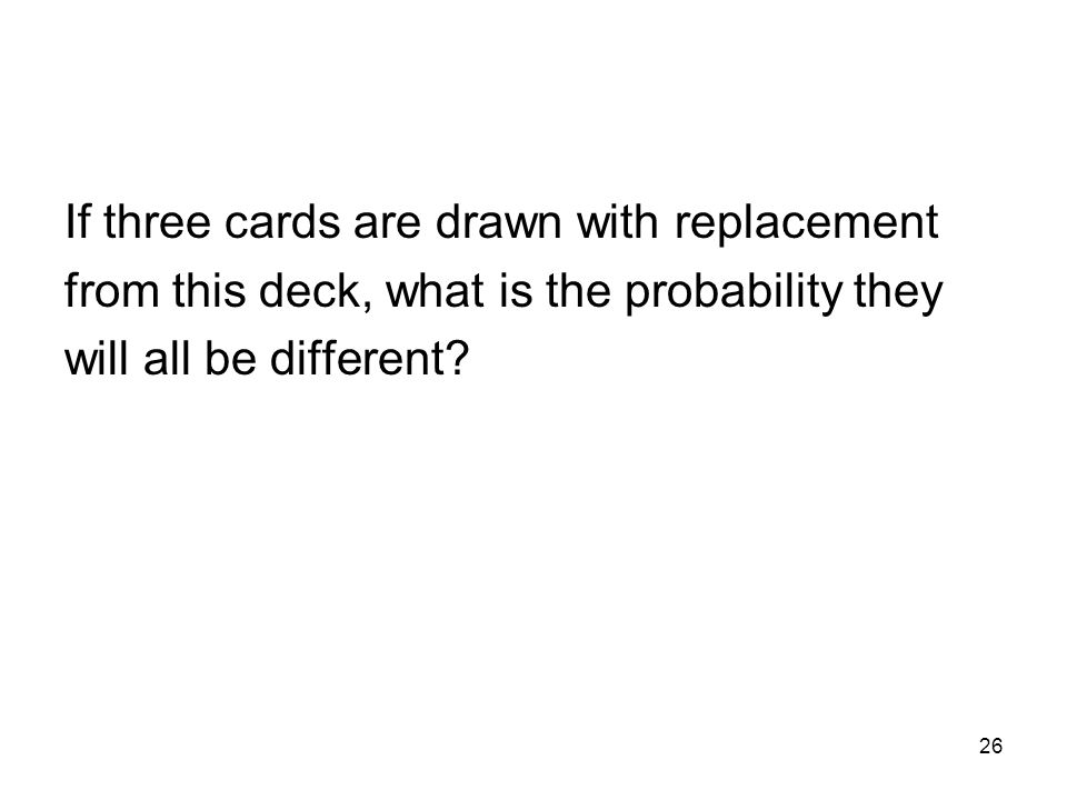 26 If three cards are drawn with replacement from this deck, what is the probability they will all be different